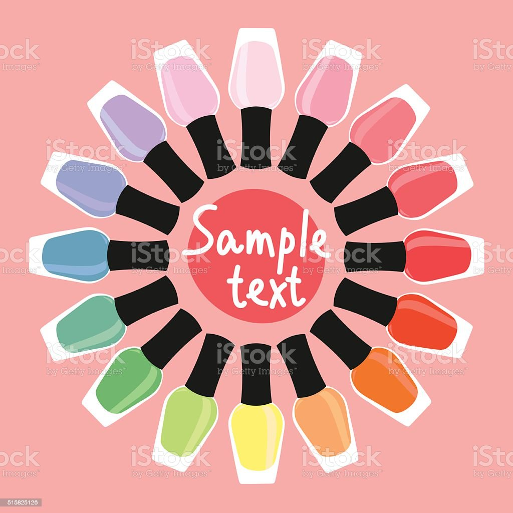 Multicolored nail lacquers in a circle vector art illustration