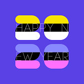 Multicolored numbers 2020 and happy New Year greetings on purple background. Elegant vector illustration in retro style for greeting card, holiday calendar or brochure
