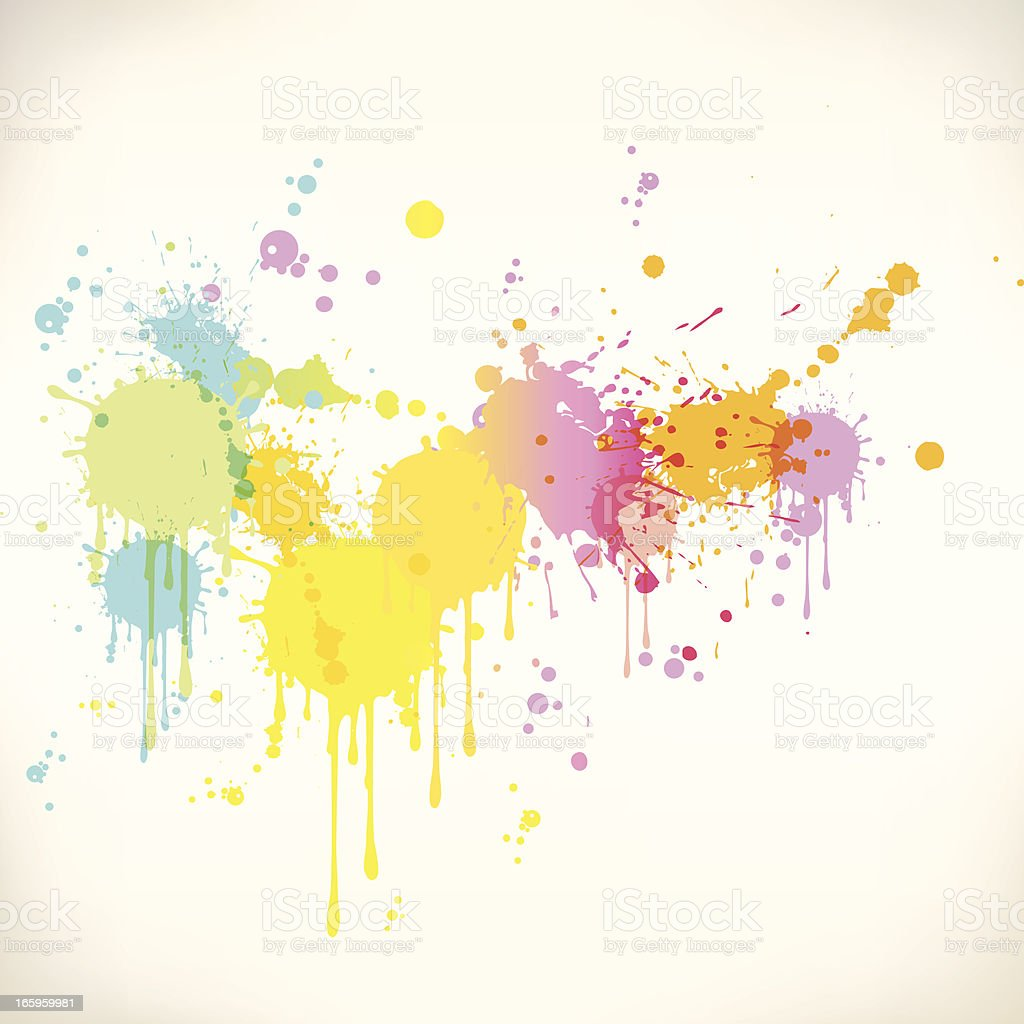 Multicolored paint stained banner with white background vector art illustration
