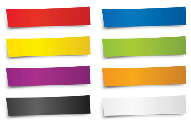 Multicolored paper cartridges to write titles. vector art illustration