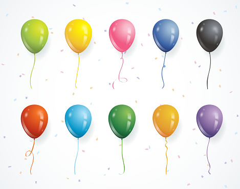 Multicolored party balloons with confetti