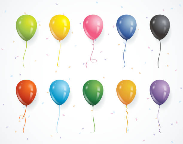 Multicolored party balloons with confetti Vector illustration of different colored balloons, flying solo, for you to use in your own designs. hot air balloon stock illustrations