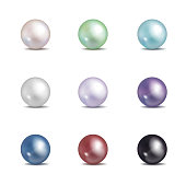 Multicolored pearls. Vector jewellery nacre beads isolated on white background