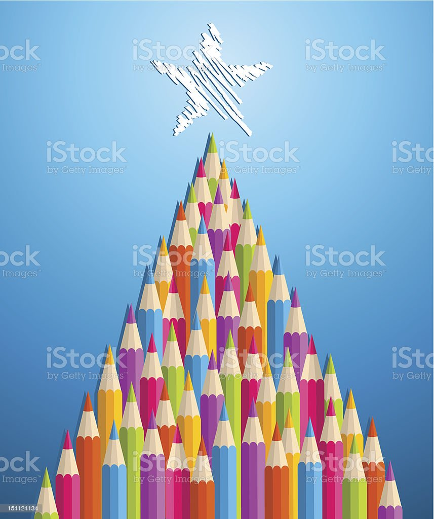 Multicolored pencil Christmas tree vector art illustration