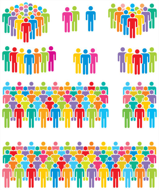 stockillustraties, clipart, cartoons en iconen met veelkleurige mensen iconen. - grote groep mensen