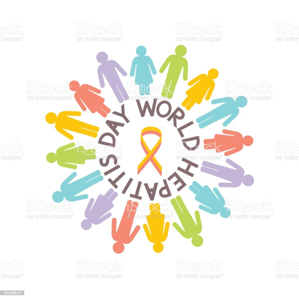Multicolored people silhouettes, world day hepatitis concept vector emblem vector art illustration