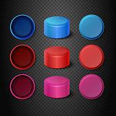 Multicolored plastic bottle caps vector set