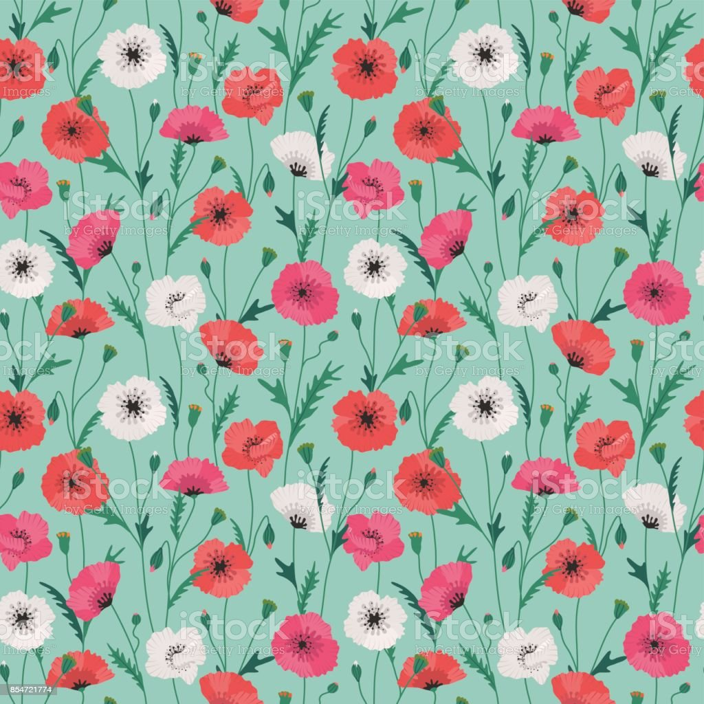 Multicolored Poppy Flower Seamless Pattern In Vintage Colors On