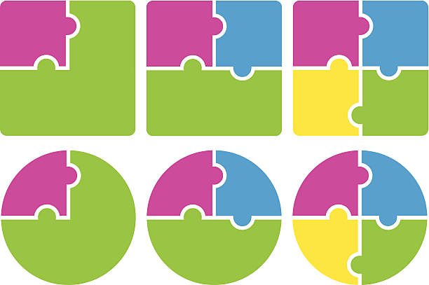 stockillustraties, clipart, cartoons en iconen met multicolored puzzle pieces forming squares and circles - puzzel pieces
