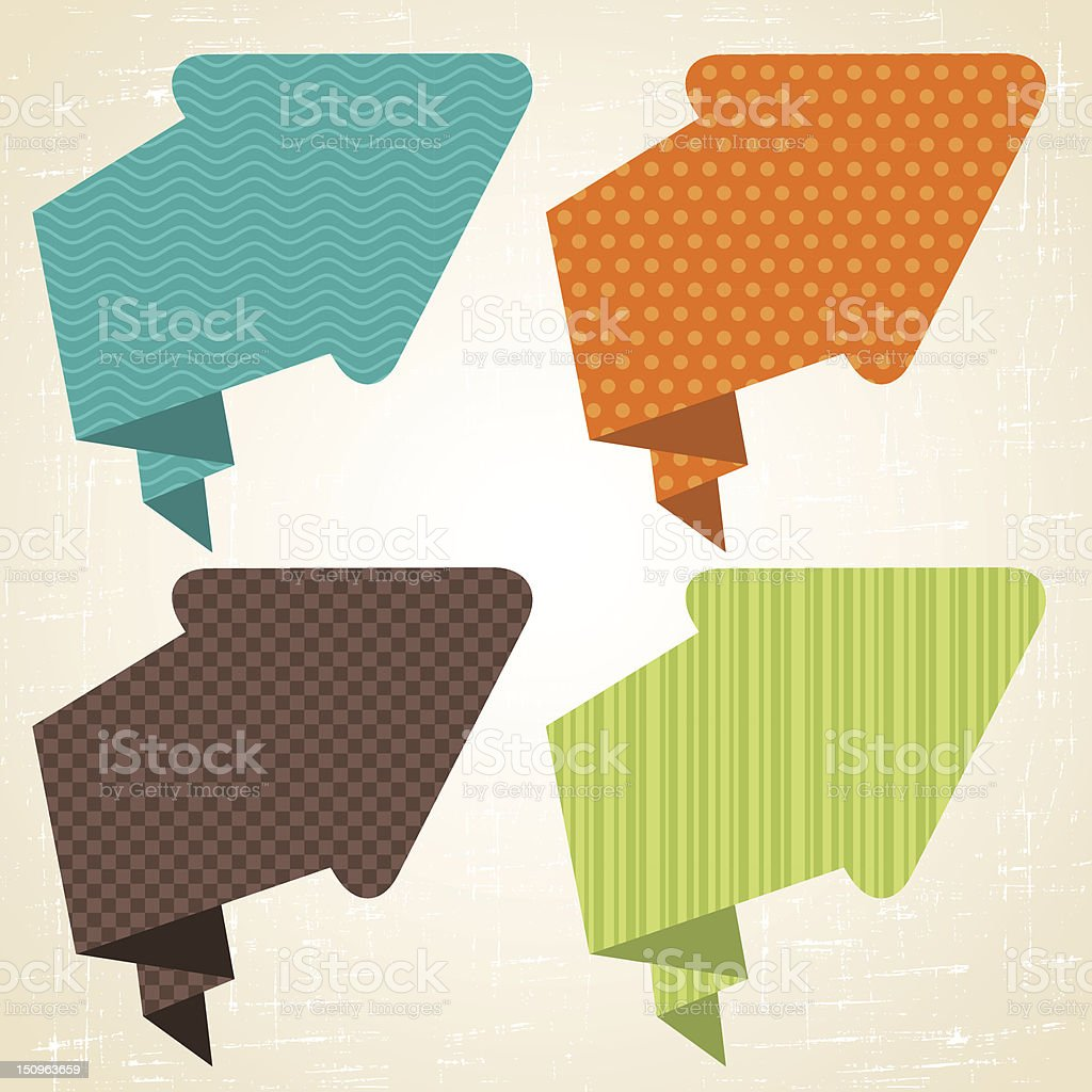 Multicolored retro origami style arrow speech bubbles royalty-free stock vector art