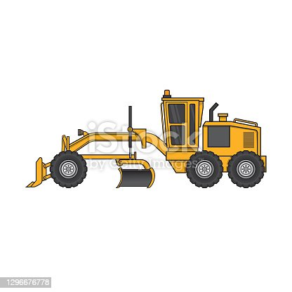 istock Multicolored road grader construction vehicle equipment machine. For coloring page, children book. 1296676778