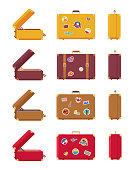 Multicolored set of suitcases vector illustration with red, yellow lilac and brown bags, opened and closed cases, many stickers isolated on white