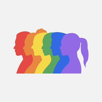 Multicolored silhouettes of profiles of faces of men and women forming the LGBT flag. Colors of rainbow. LGBTQ people. LGBTQ + sign. Vector illustration.