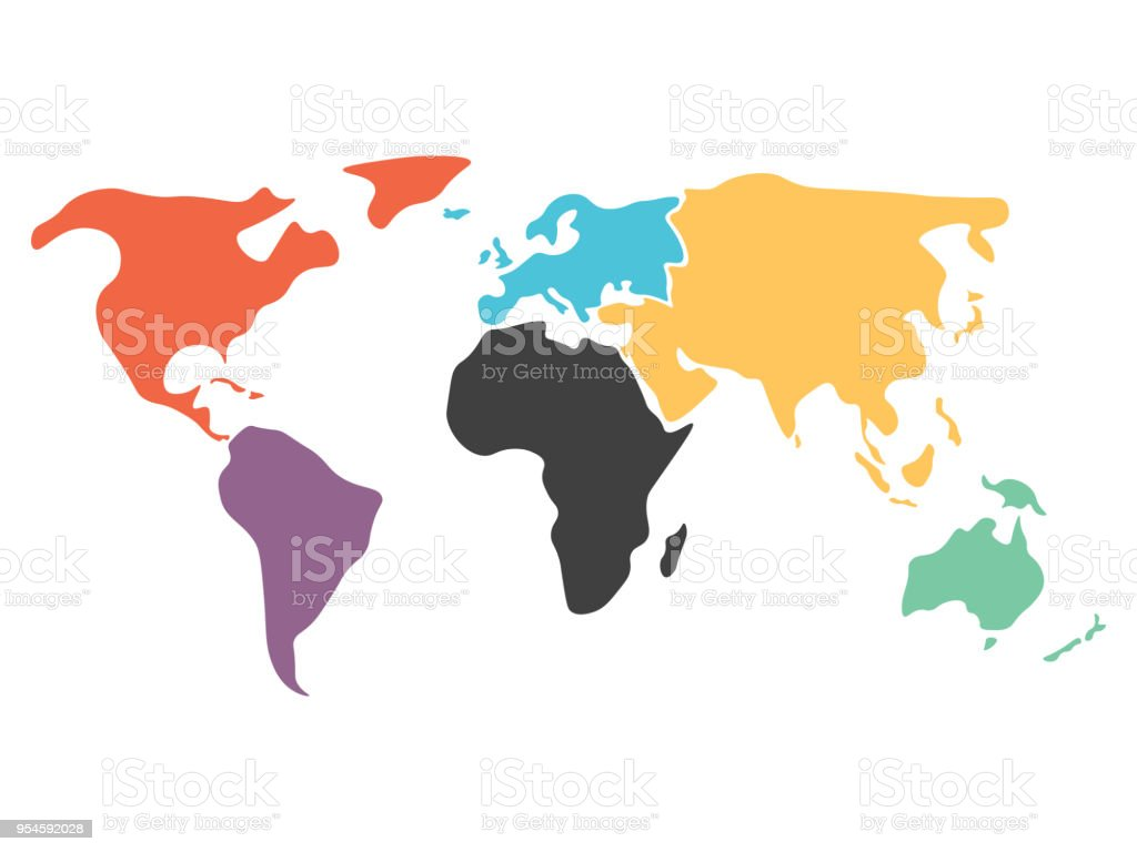 Multicolored simplified world map divided to continents stock vector multicolored simplified world map divided to continents royalty free multicolored simplified world map divided to gumiabroncs Image collections