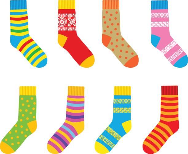 stockillustraties, clipart, cartoons en iconen met multi-gekleurde sokken - wollig