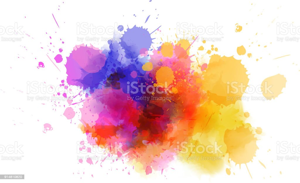 Multicolored splash watercolor blot vector art illustration