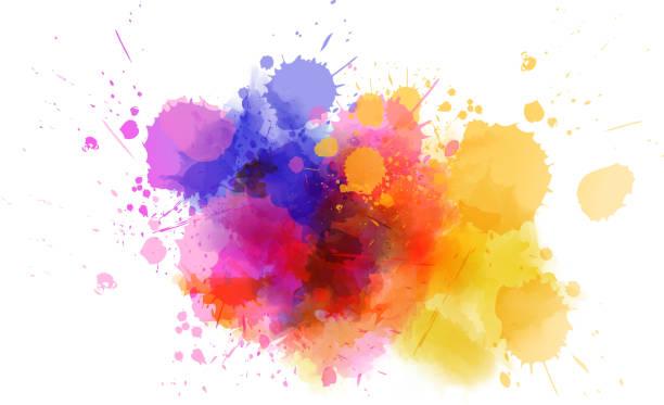 Multicolored splash watercolor blot vector art illustration