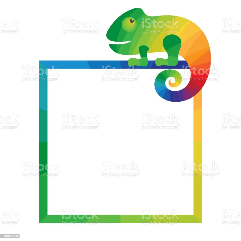 Multicolored square frame with chameleon. royalty-free multicolored square frame with chameleon stock vector art & more images of afrika afrika