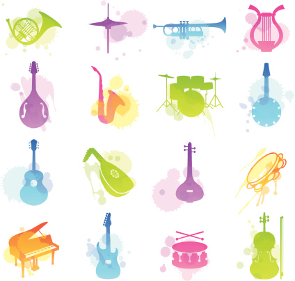 Multicolored stains icons of various musical instruments
