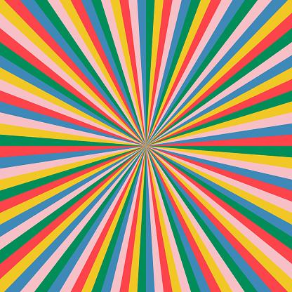 Multicolored sunburst vector art.