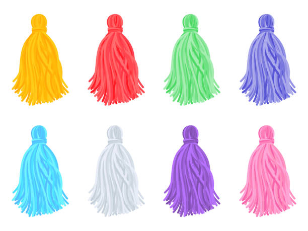 multi-colored tassels Set of beautiful multi-colored tassels on white background. Vector illustration tassel stock illustrations