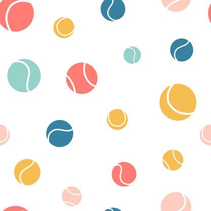 Multicolored tennis balls seamless pattern.