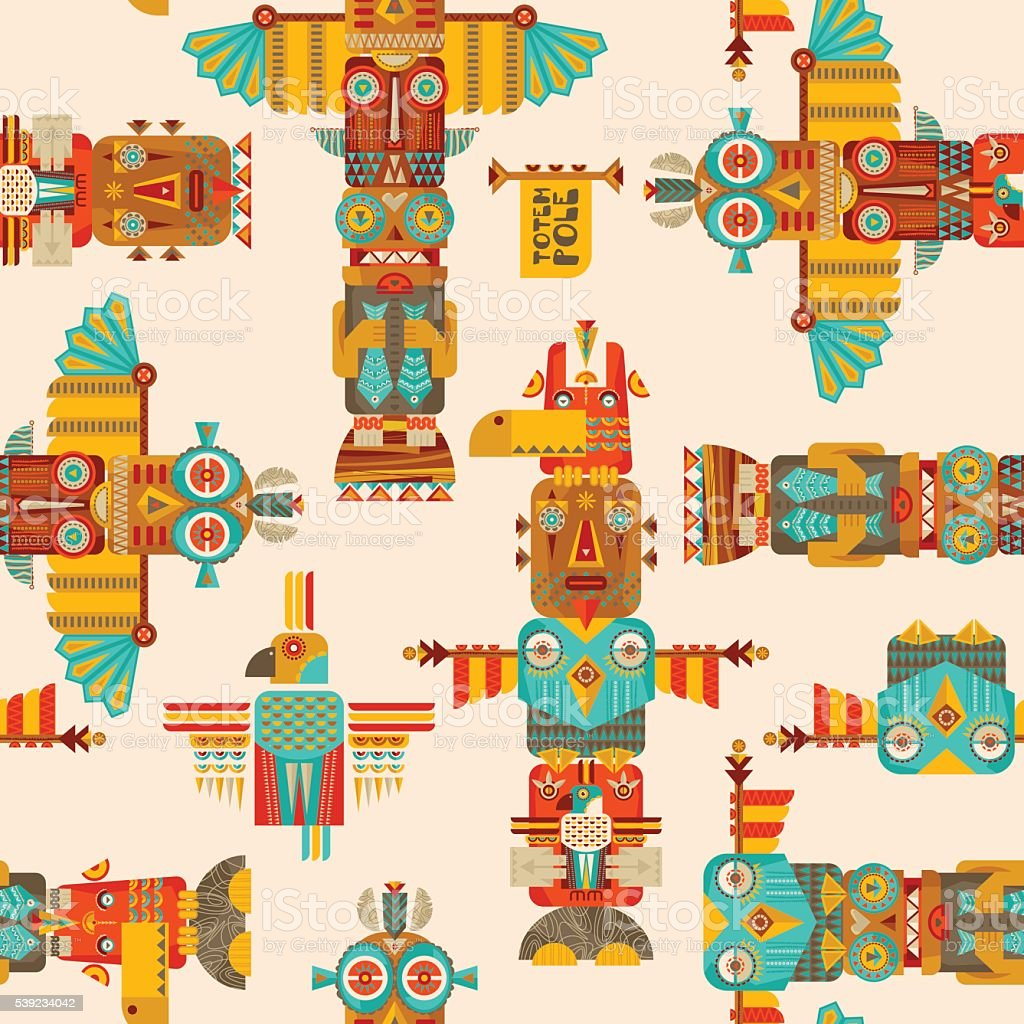 Multi-colored totem poles. Seamless background pattern. vector art illustration