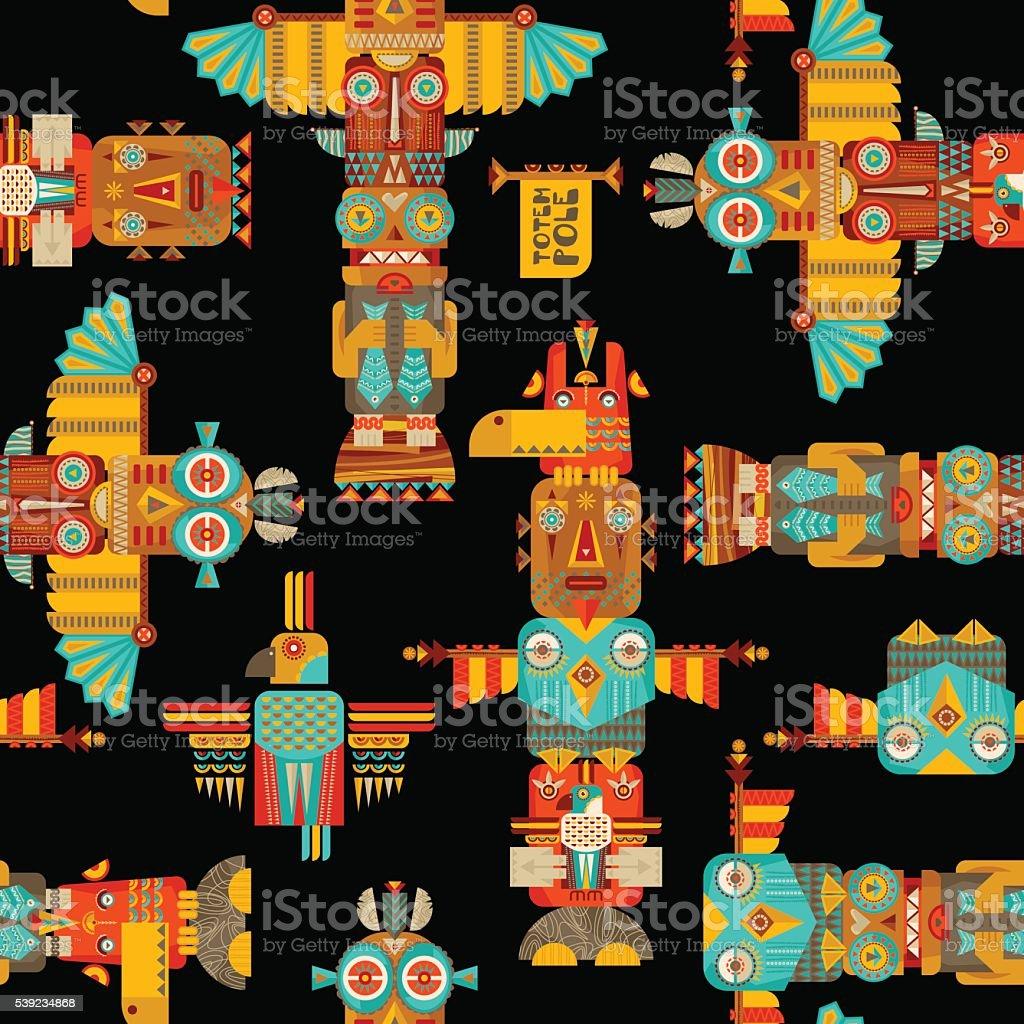Multi-colored totem poles. Seamless background pattern. royalty-free multicolored totem poles seamless background pattern stock vector art & more images of alaska - us state