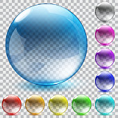 Set of ten multicolored transparent glass spheres with shadowson checkered background. Vector illustrations.