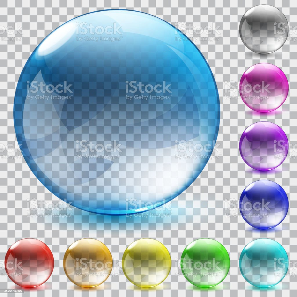 Multicolored transparent glass spheres vector art illustration