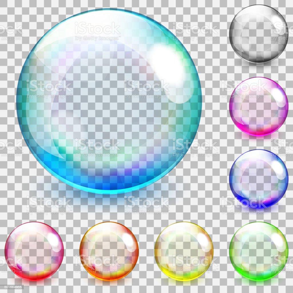 Multicolored transparent glass spheres vector art illustration