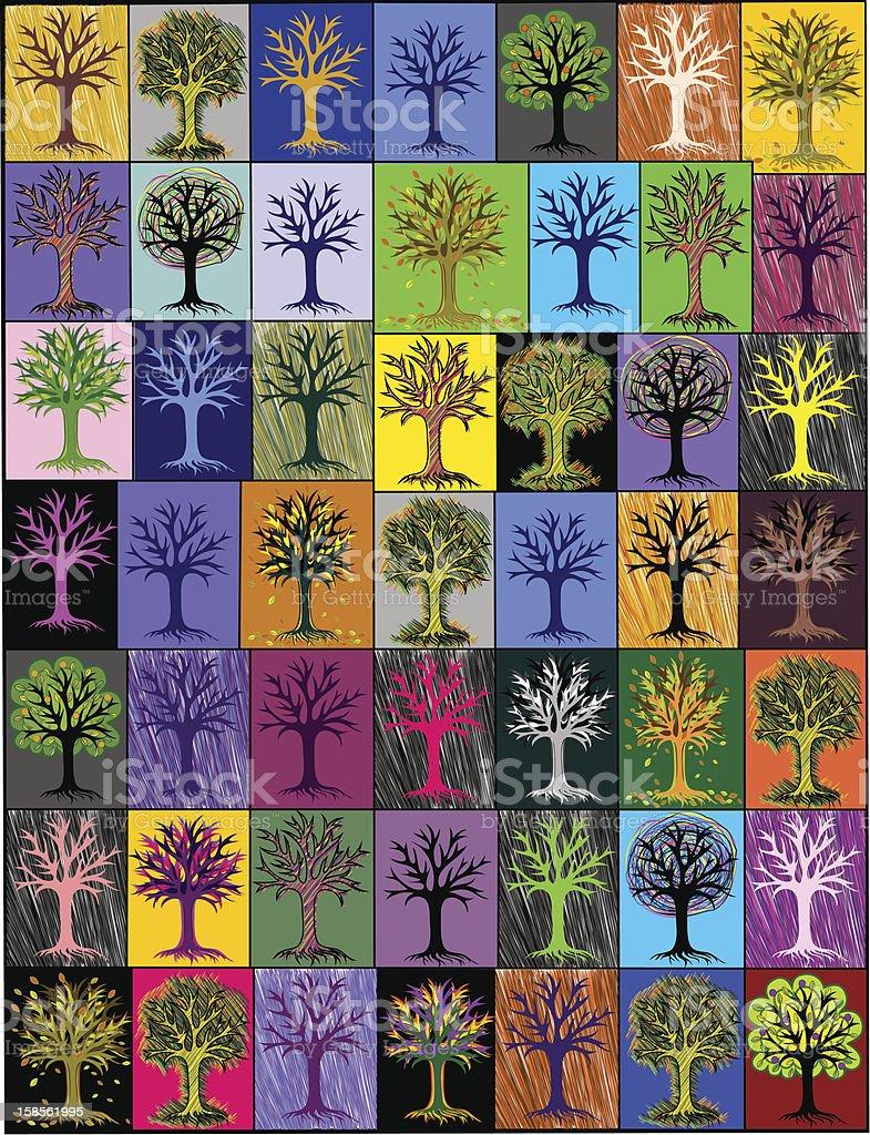다중 채색기법 trees. 분할촬영 background.cover royalty-free 다중 채색기법 trees 분할촬영 backgroundcover 0명에 대한 스톡 벡터 아트 및 기타 이미지