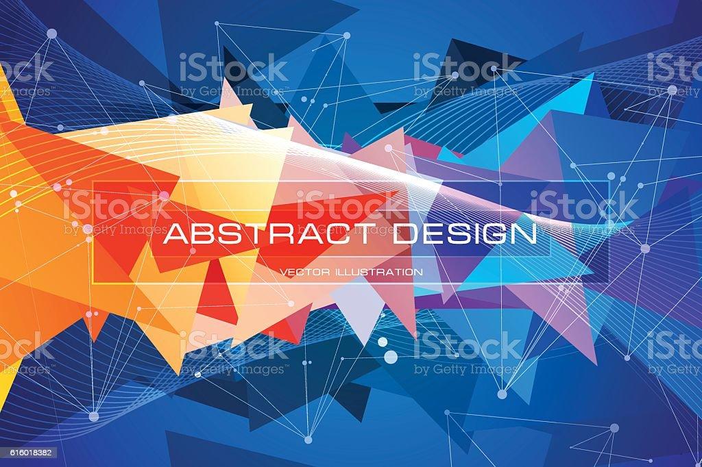 Multicolored triangles, blue and orange debris vector art illustration