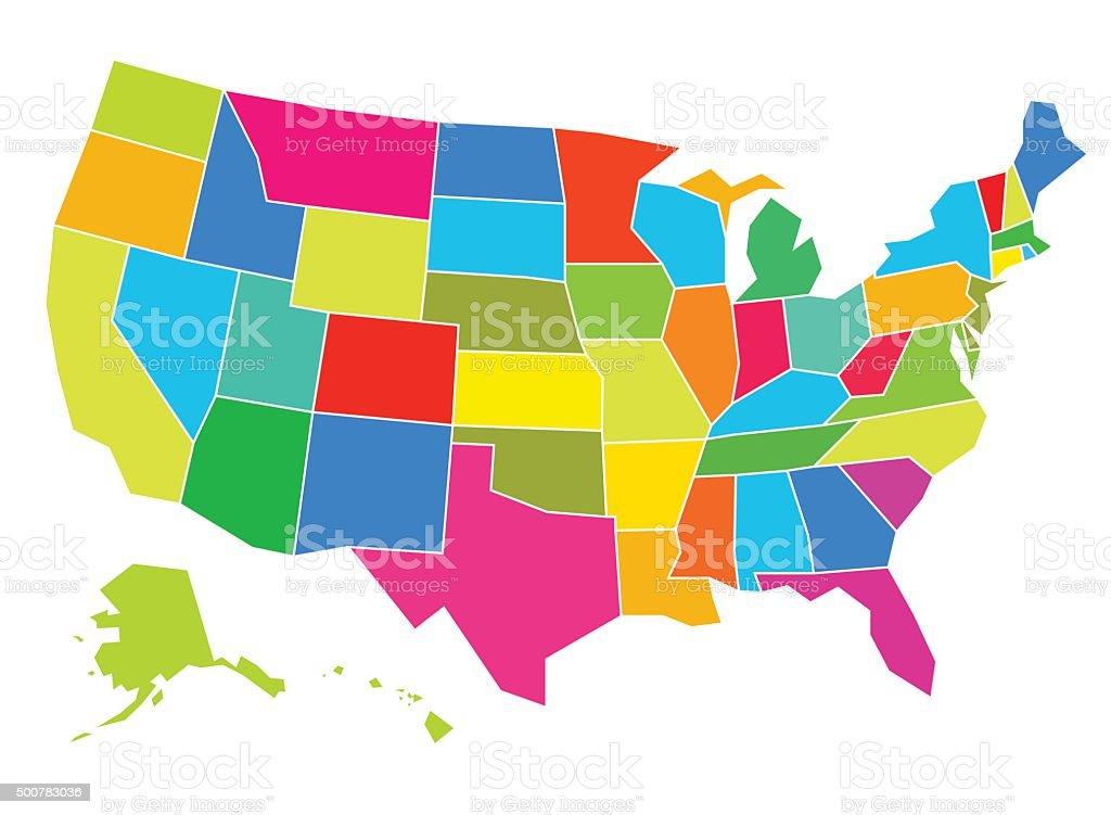 Multicolored USA Map vector art illustration