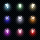 Multi-colored vector glowing lanterns on dark transparent background