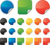 Vector illustrations of colorful stickers of three different shapes.  Each sticker in the image has its bottom right corner peeled slightly upwards.  The top row shows three large examples of the sticker types which are a blue circle with jagged edges, a green square with rounded corners and a basic red circle.  Each sticker shape is represented in a different color below the three large examples above.  Each row has the same sticker in black, blue, green, yellow, orange and red.  The second row has circle stickers, the third row has jagged circle stickers, and the fourth row has square stickers.