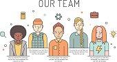 Multicolored vector work team illustration (women and men). Business design concept. Modern minimalistic design. Part three.