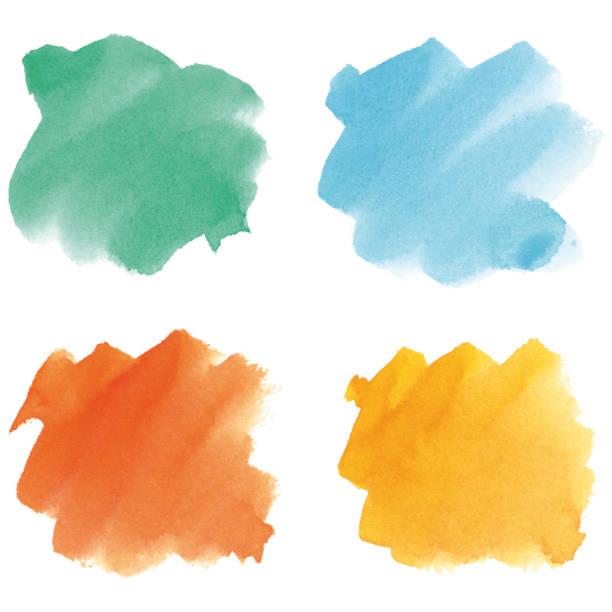 Multicolored watercolor brush strokes vector art illustration
