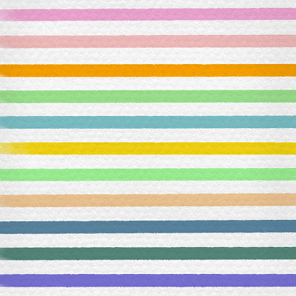 Multicolored Watercolor Stripes Pattern Background. Coastal Summer Concept. Design Element for Greeting Cards and Labels, Marketing, Business Card Abstract Background.