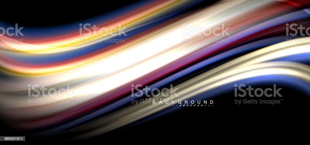 검은 배경 디자인에 여러 가지 빛깔된 웨이브 라인 - 로열티 프리 0명 벡터 아트