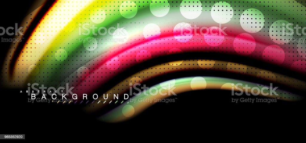 黑色背景設計中的五彩波浪線 - 免版稅俄羅斯圖庫向量圖形