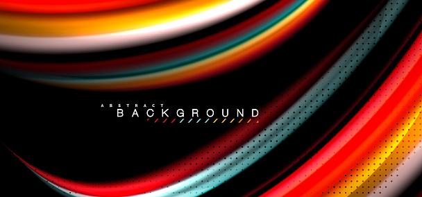 검은 배경 디자인에 여러 가지 빛깔된 웨이브 라인 0명에 대한 스톡 벡터 아트 및 기타 이미지