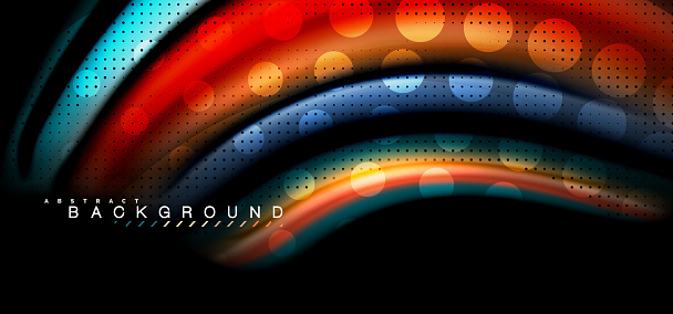 Multicolored Wave Lines On Black Background Design Stock Illustration - Download Image Now