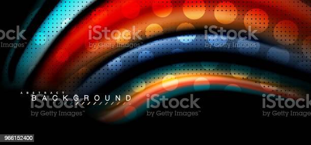 Mehrfarbige Wellenlinien Auf Schwarzem Hintergrunddesign Stock Vektor Art und mehr Bilder von Abstrakt