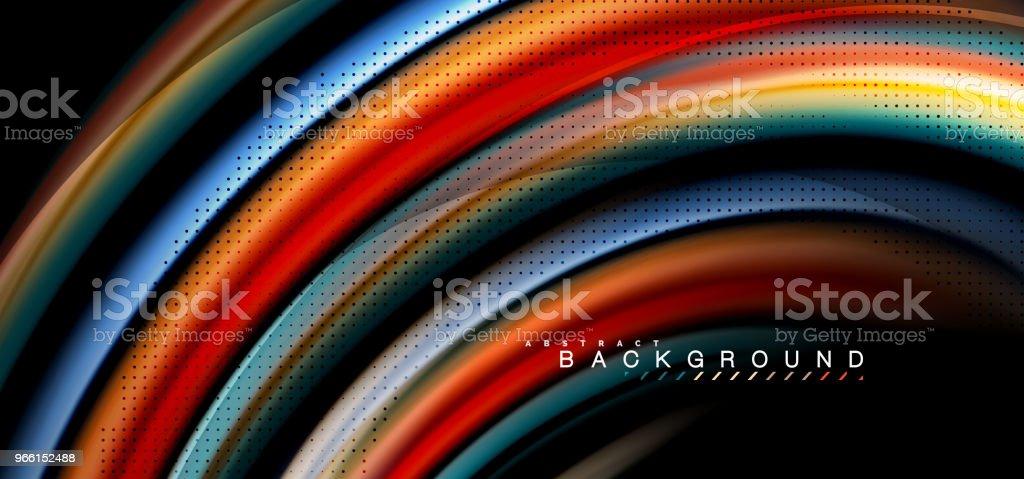 Veelkleurige golf lijnen op een zwarte achtergrondontwerp - Royalty-free Abstract vectorkunst