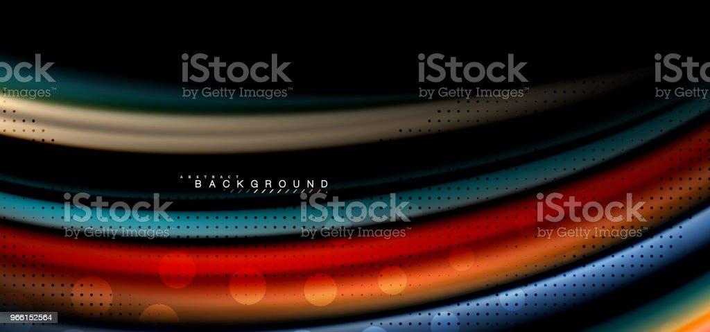 Mångfärgade våg linjer på svart bakgrundsdesign - Royaltyfri Abstrakt vektorgrafik