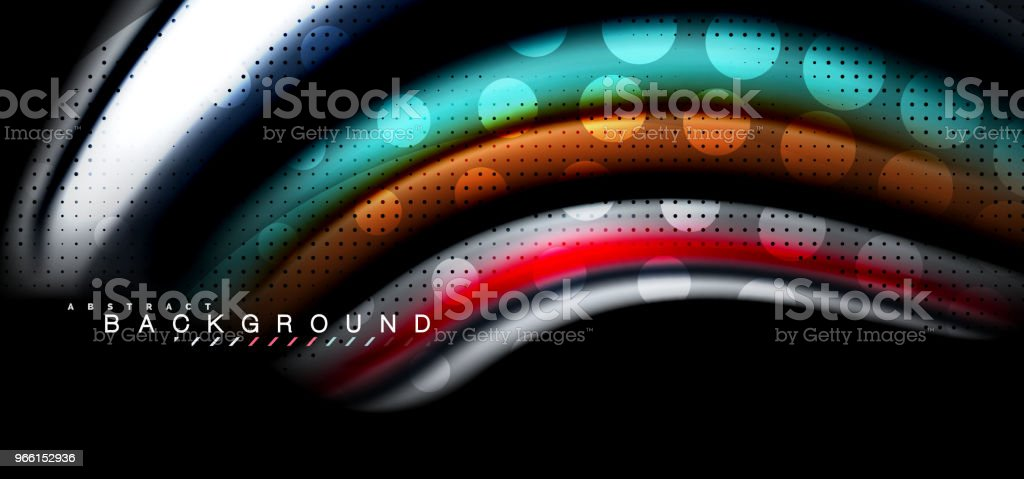 Multicolored wave lines on black background design - Royalty-free Abstract stock vector