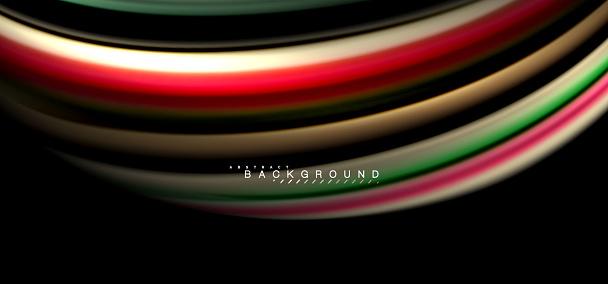 Multicolored Wave Lines On Black Background Design - Arte vetorial de stock e mais imagens de Abstrato