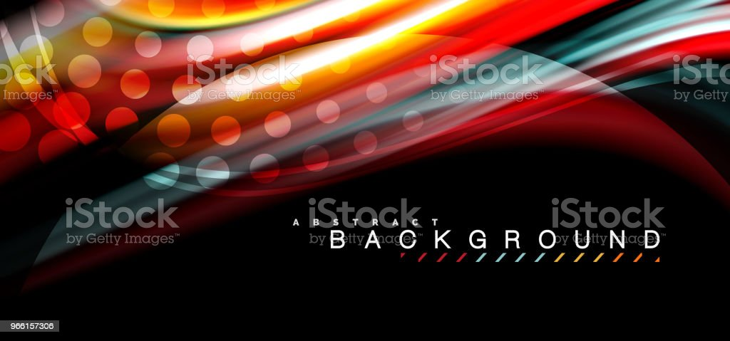 Multicolored wave lines on black background design - Royalty-free Abstrato arte vetorial