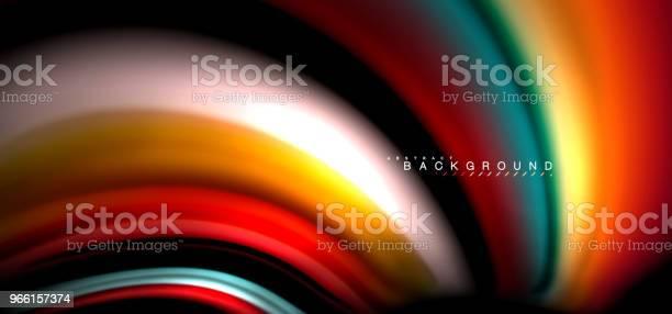 Mångfärgade Våg Linjer På Svart Bakgrundsdesign-vektorgrafik och fler bilder på Abstrakt